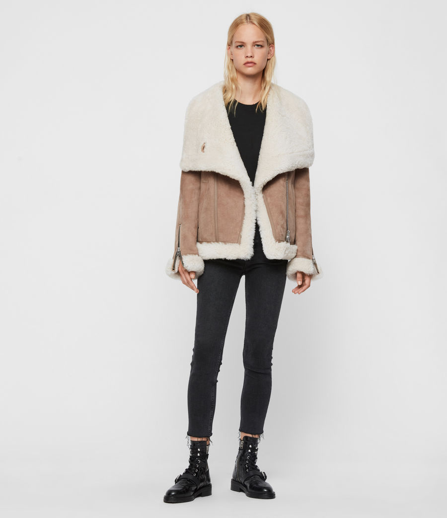 Women's Harlow Shearling Jacket (toffee_ecru_white) - Image 3