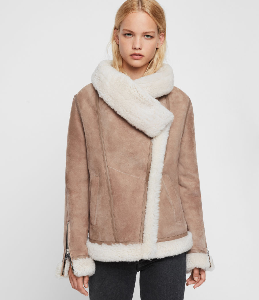 Women's Harlow Shearling Jacket (toffee_ecru_white) - Image 4