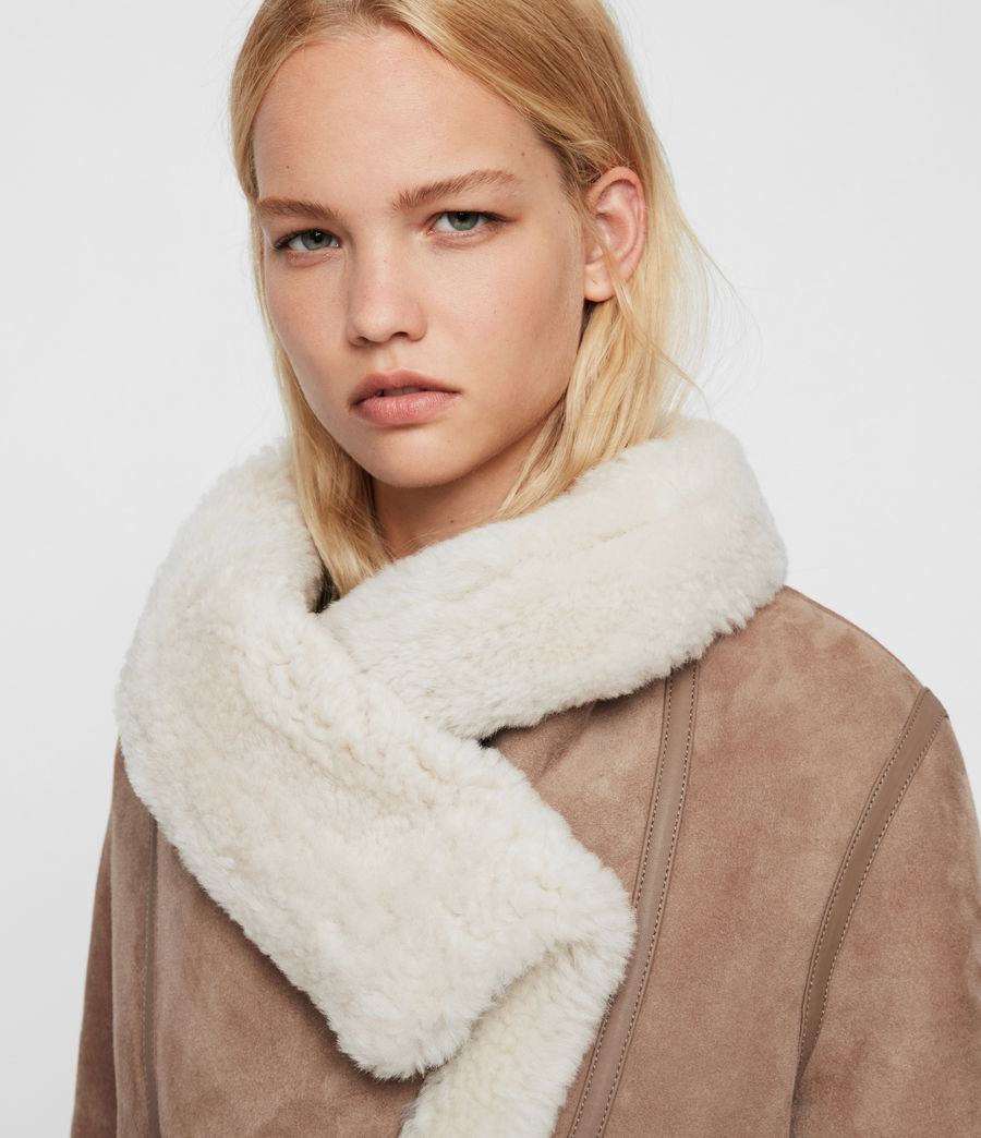 Women's Harlow Shearling Jacket (toffee_ecru_white) - Image 5