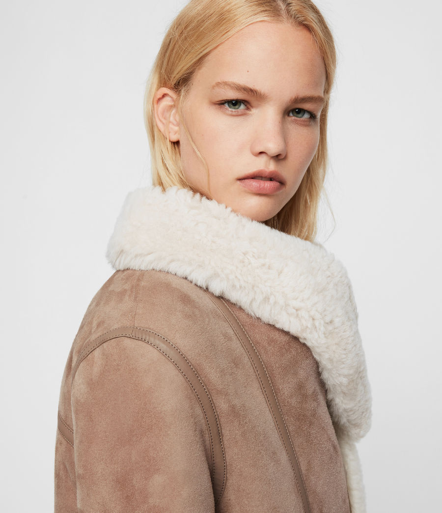 Womens Harlow Shearling Jacket (toffee_ecru_white) - Image 6