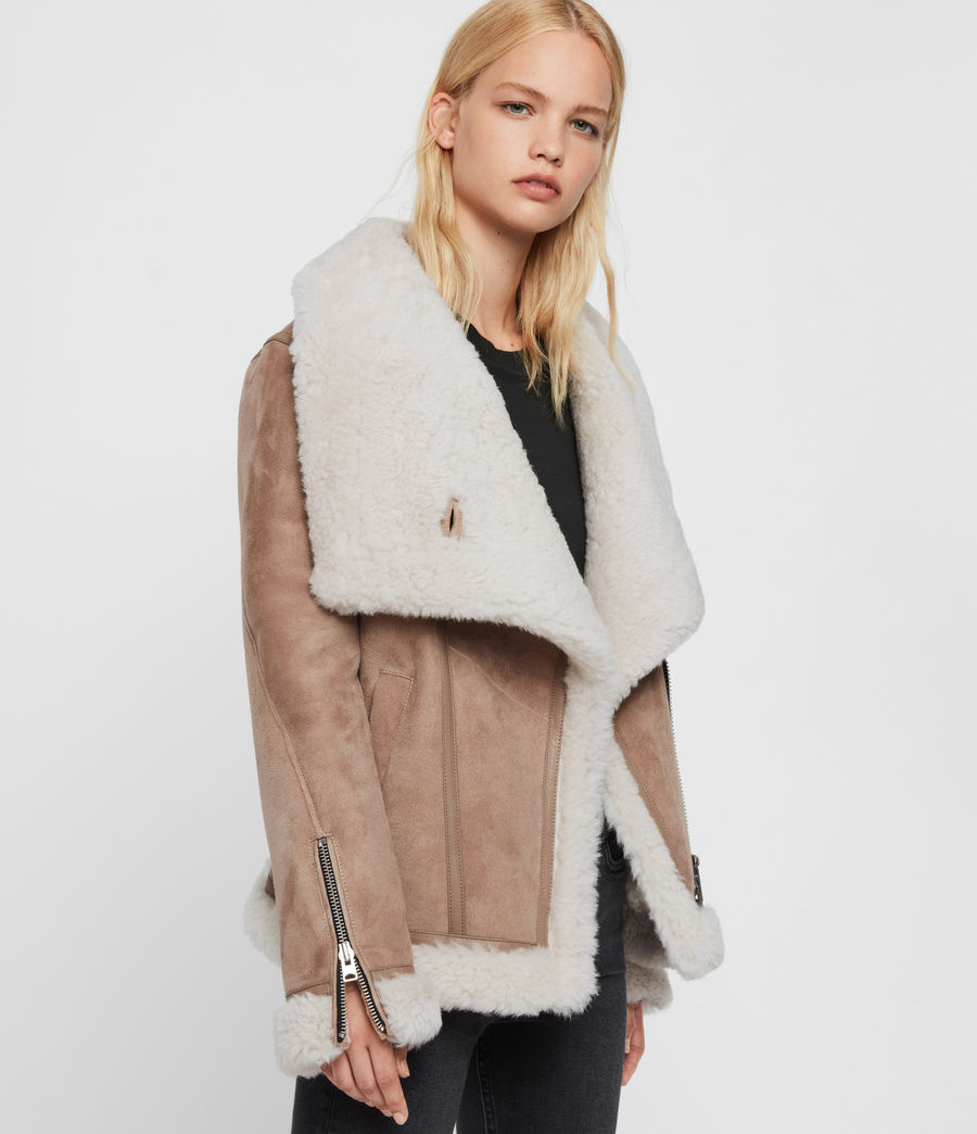Women's Harlow Shearling Jacket (toffee_ecru_white) - Image 6