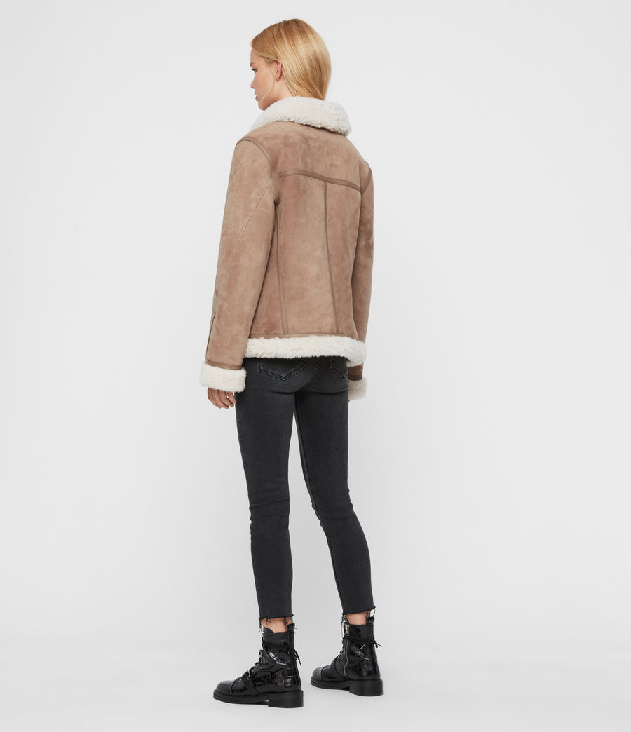 Women's Harlow Shearling Jacket (toffee_ecru_white) - Image 7