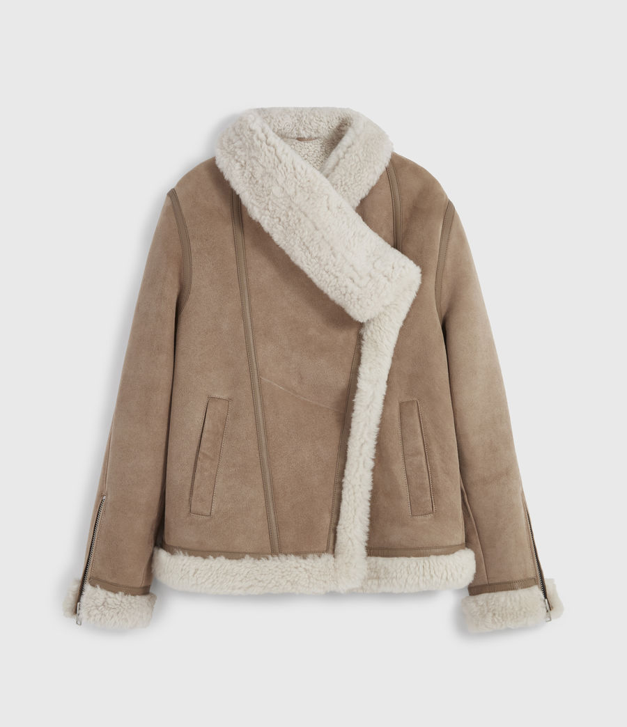 Damen Harlow Shearling Jacket (toffee_ecru_white) - Image 9