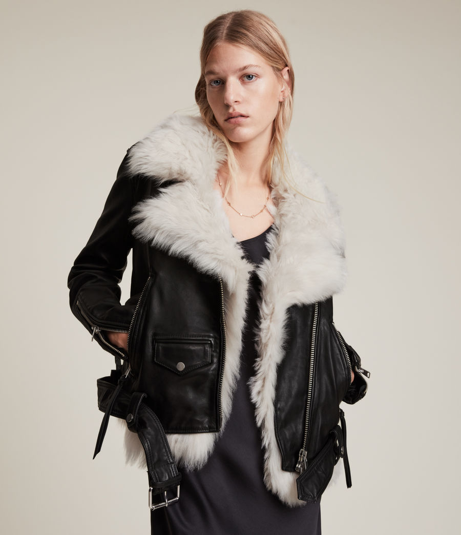Women's Luna 4-in-1 Shearling Biker Jacket (black_natural) - Image 1