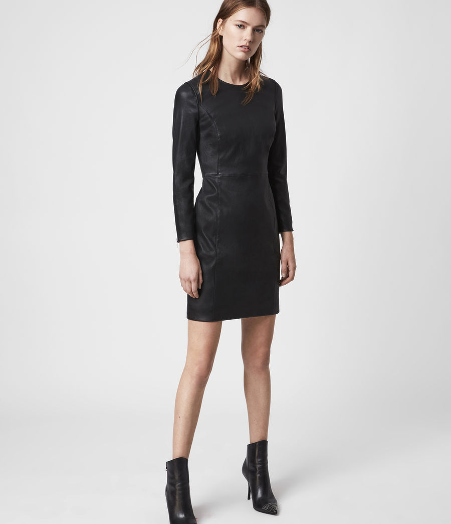 Womens Cowling Leather Dress (black) - Image 1