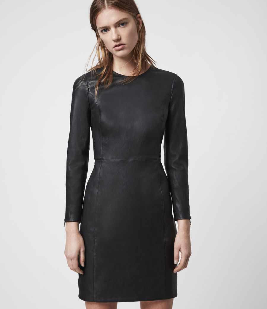 Womens Cowling Leather Dress (black) - Image 2