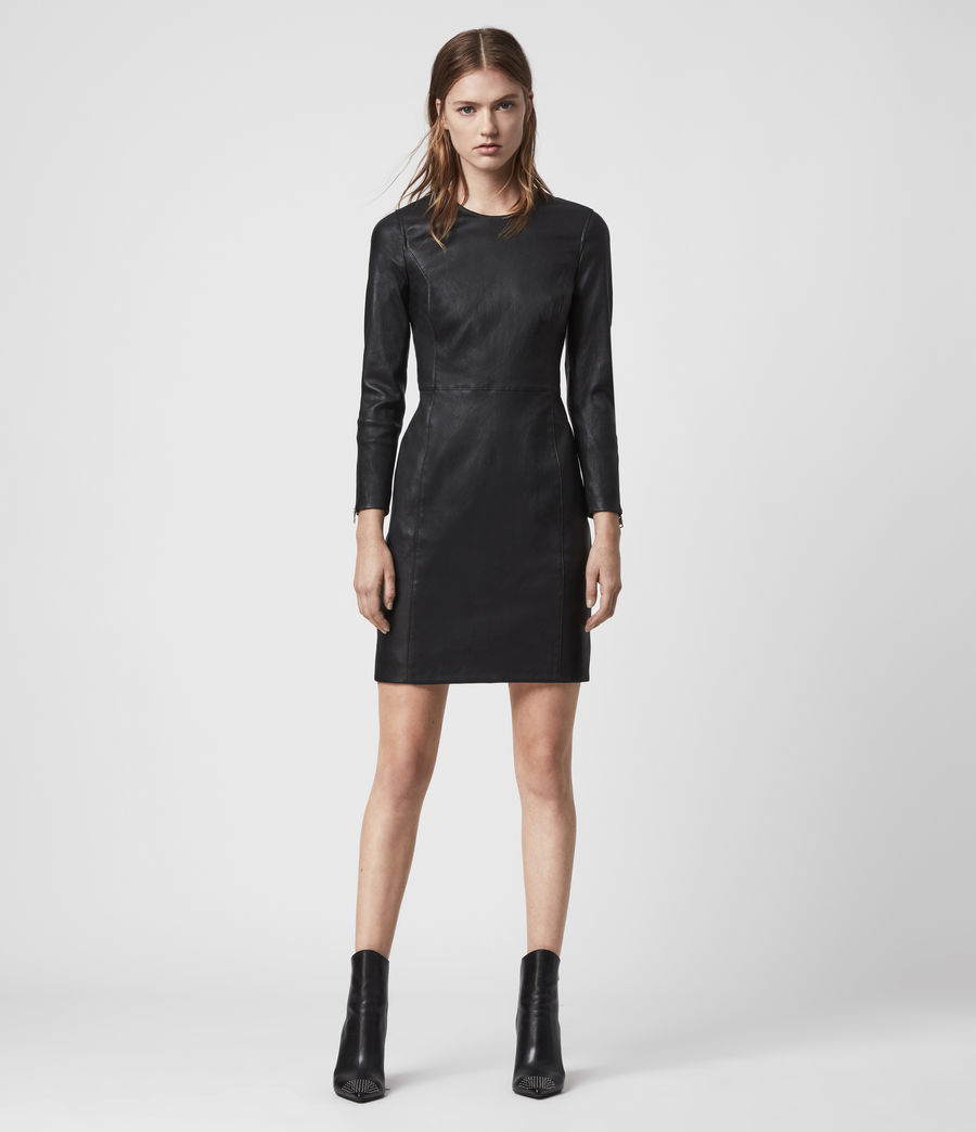 Womens Cowling Leather Dress (black) - Image 3