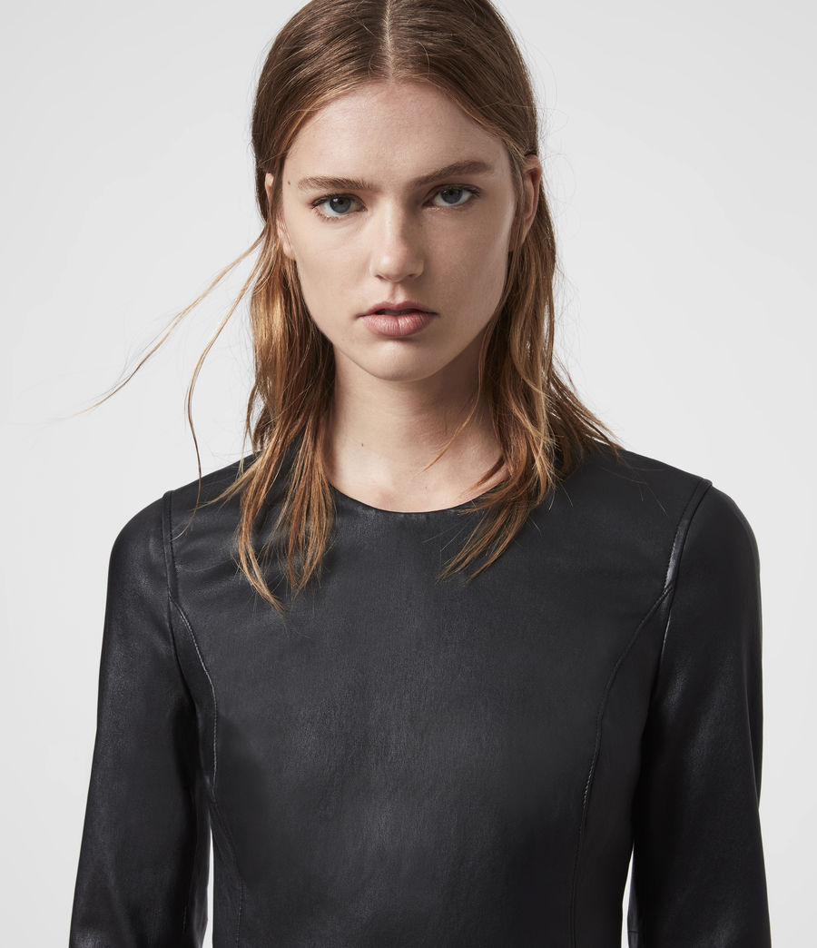Womens Cowling Leather Dress (black) - Image 4