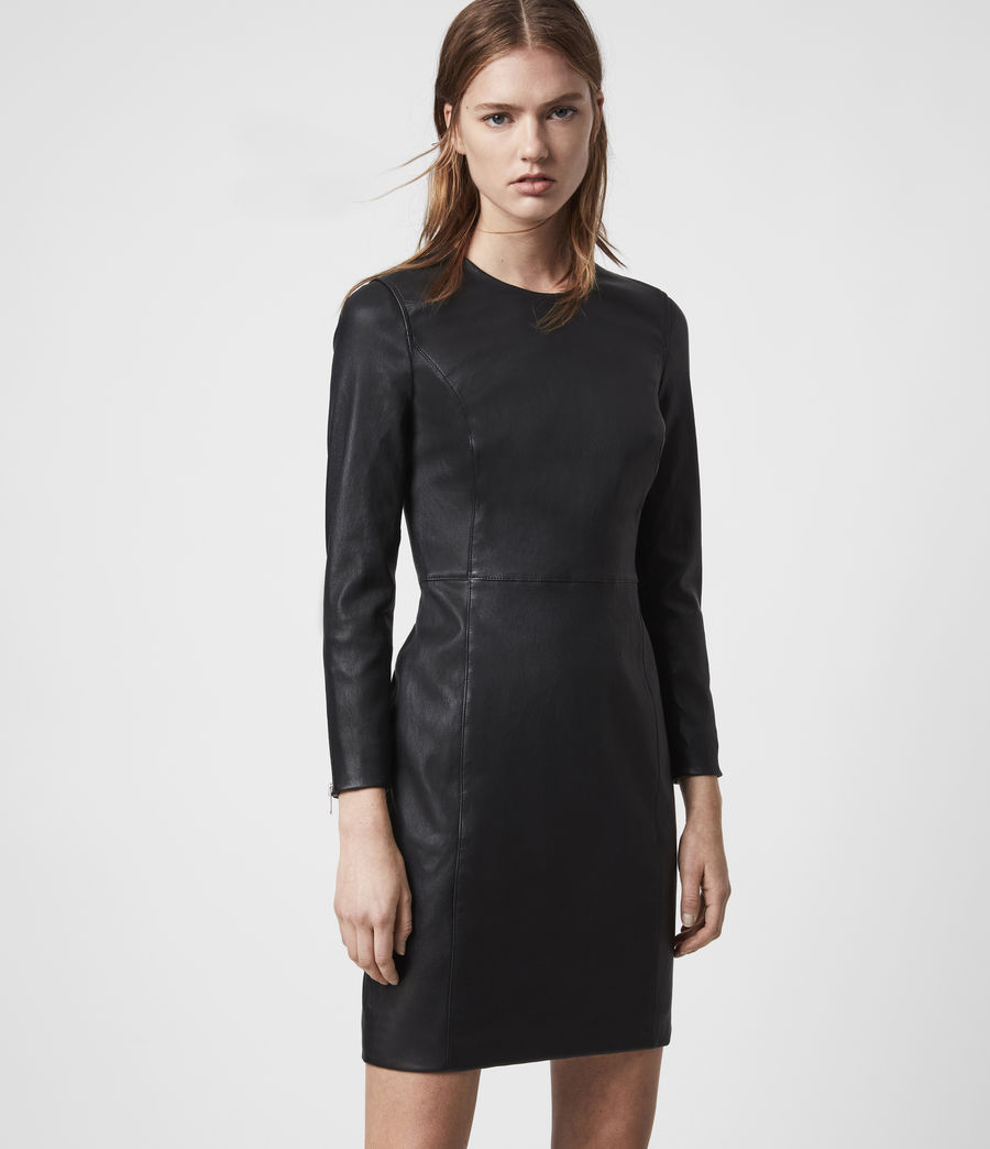 Womens Cowling Leather Dress (black) - Image 5