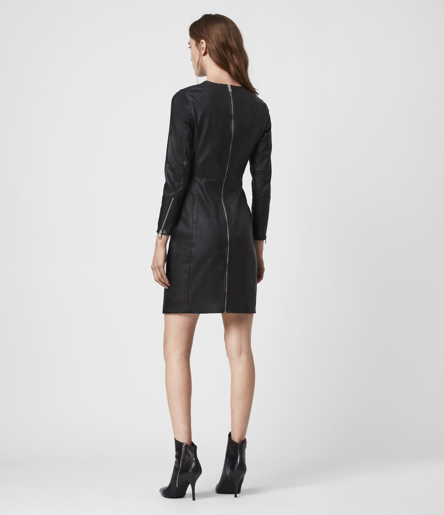 Womens Cowling Leather Dress (black) - Image 6