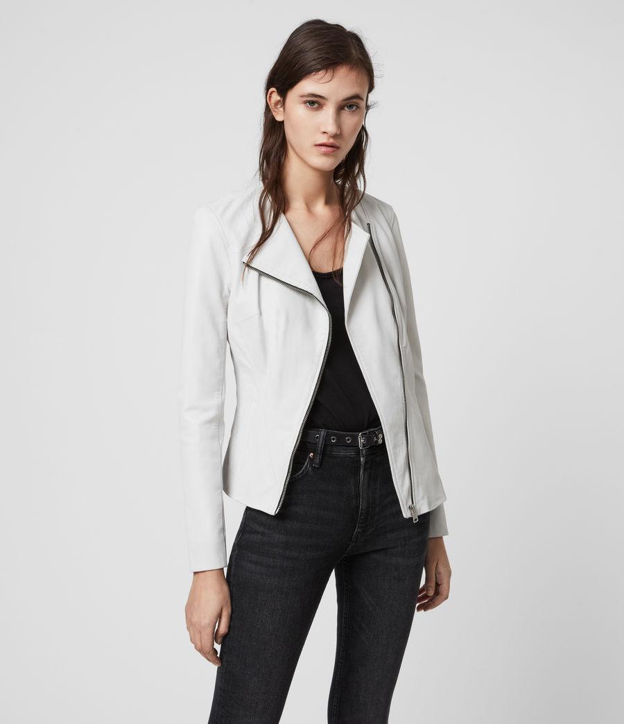 Women's Fawn Leather Biker Jacket (white) - Image 1