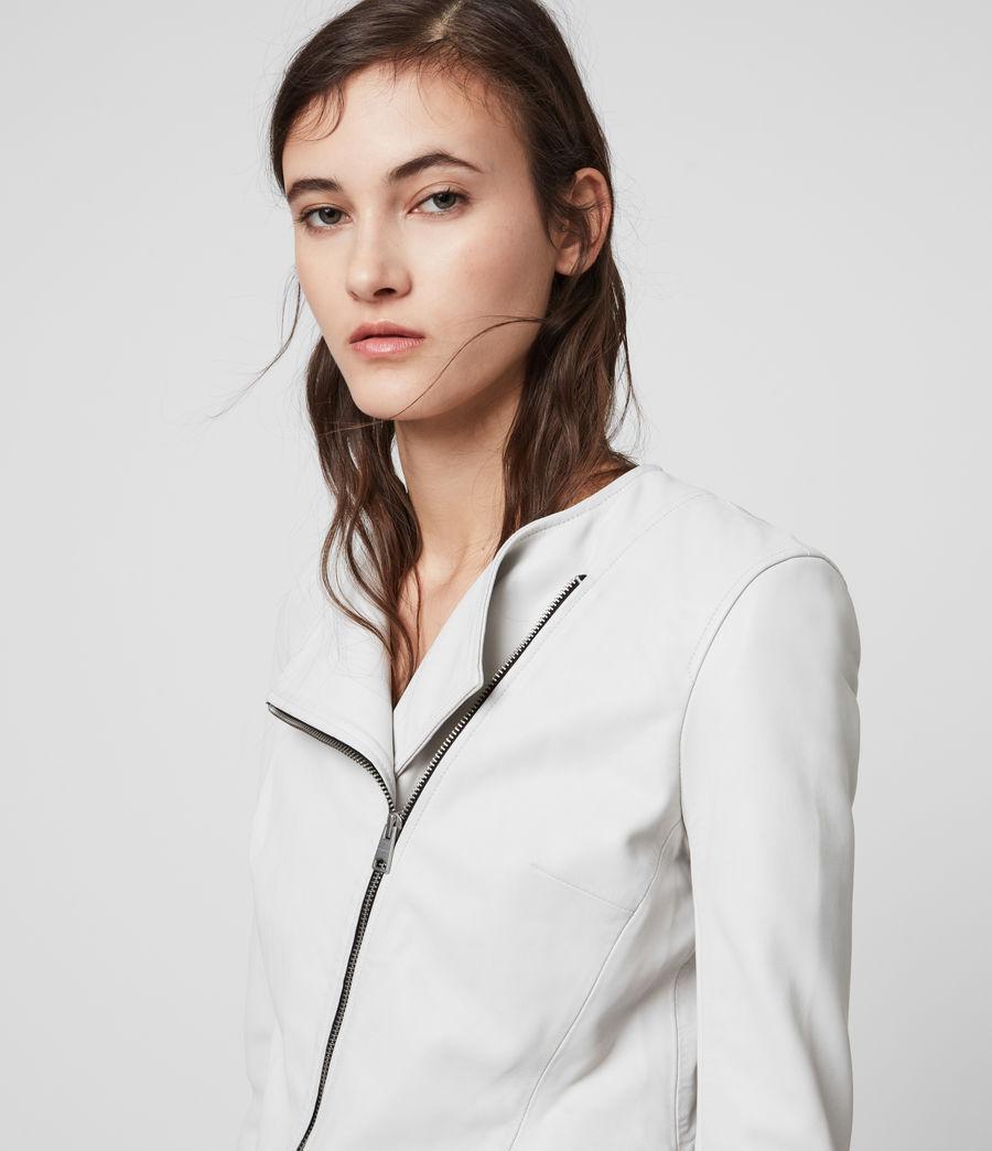 Women's Fawn Leather Biker Jacket (white) - Image 2