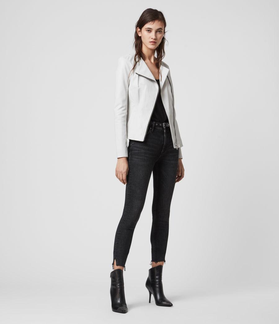 Women's Fawn Leather Biker Jacket (white) - Image 3