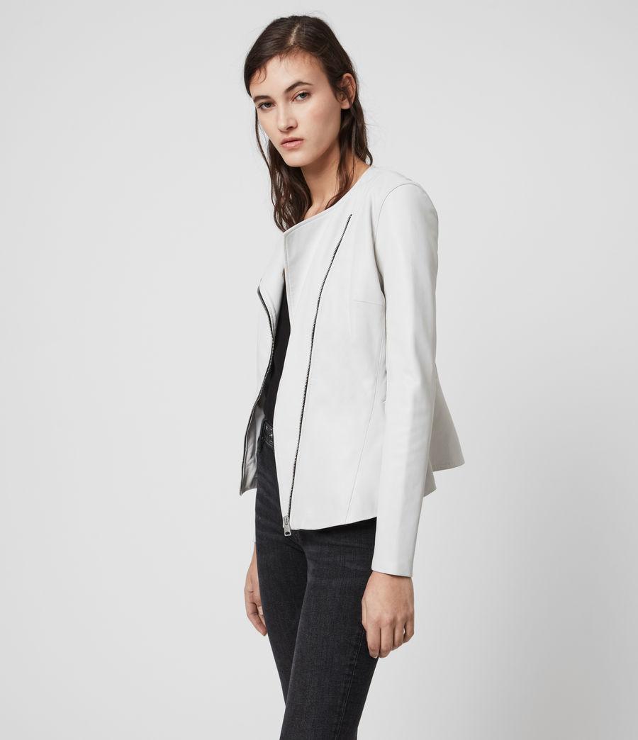 Women's Fawn Leather Biker Jacket (white) - Image 4