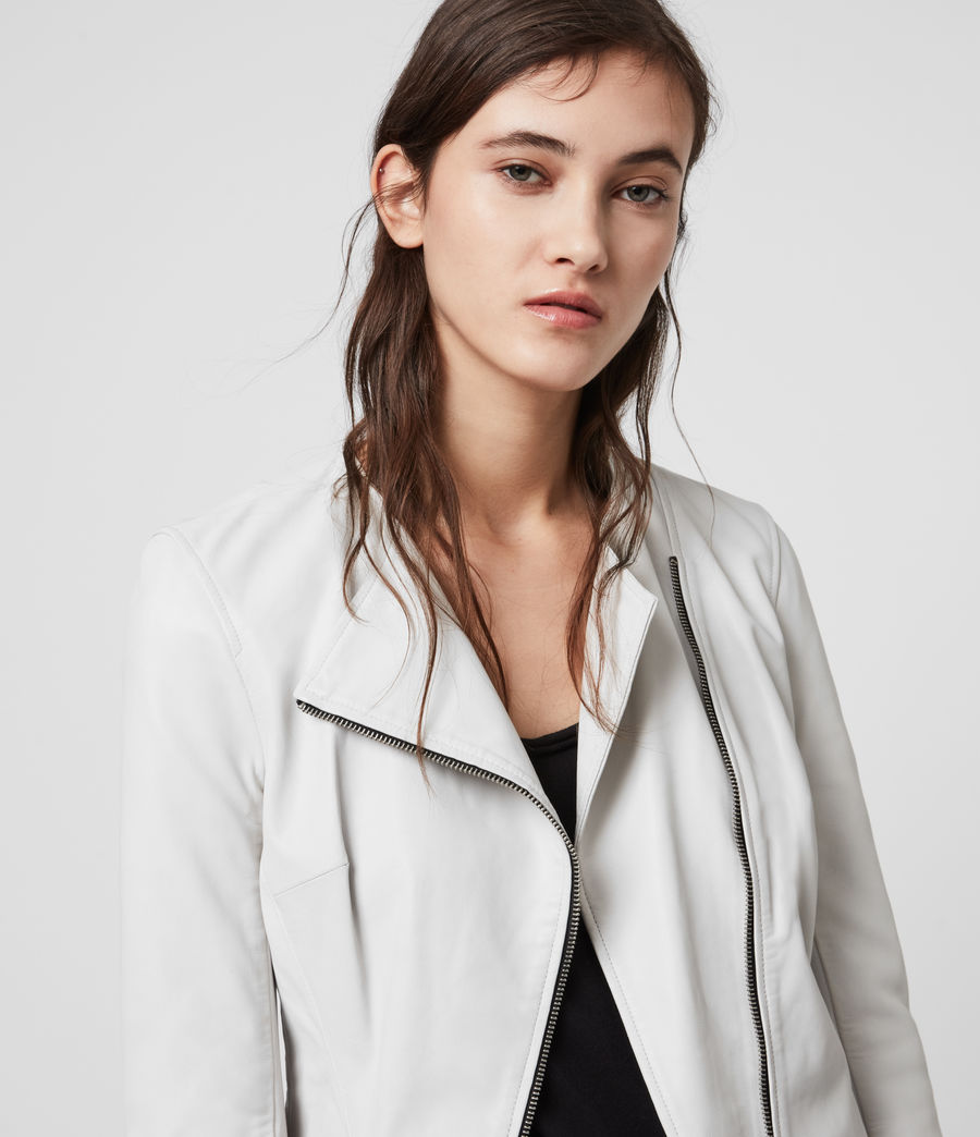 Women's Fawn Leather Biker Jacket (white) - Image 5