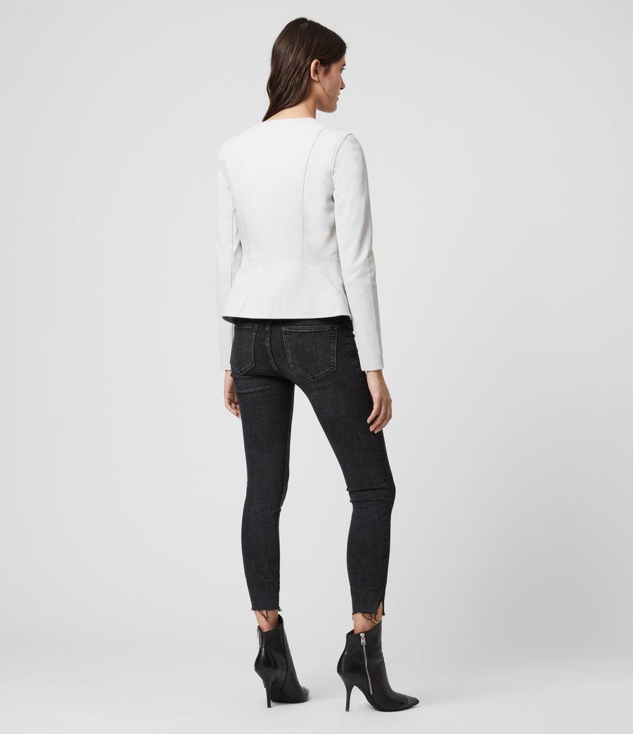 Women's Fawn Leather Biker Jacket (white) - Image 6