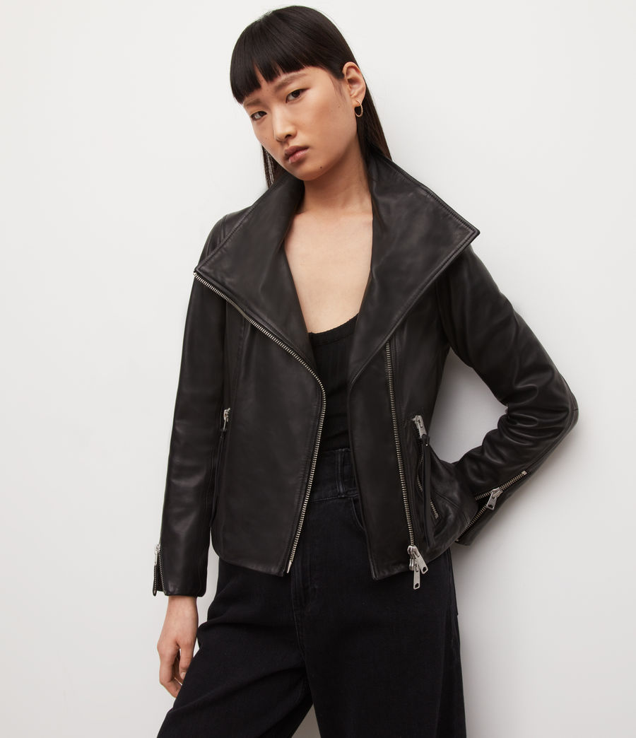 Womens Ellis Leather Biker Jacket (black) - Image 2