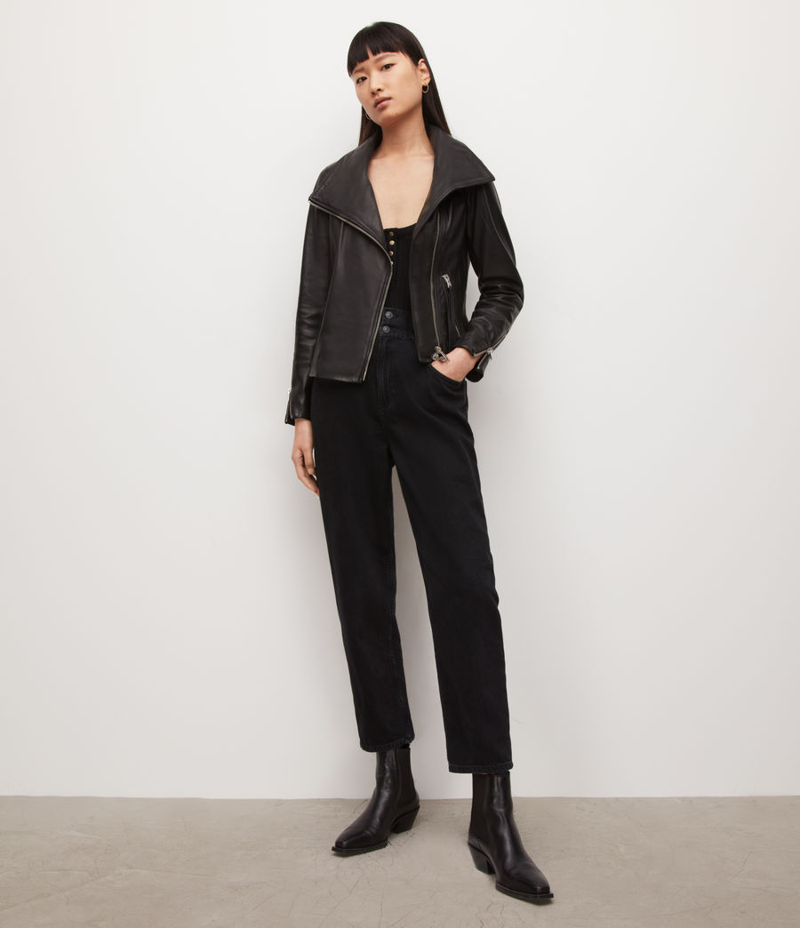 Women's Ellis Leather Biker Jacket (black) - Image 3