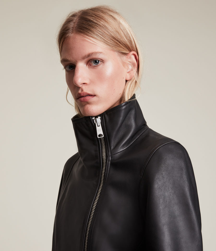 Women's Ellis Leather Biker Jacket (black) - Image 5