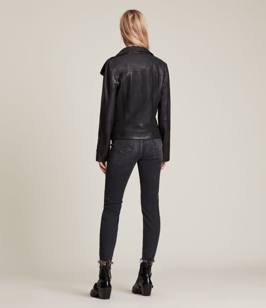 Women's Ellis Leather Biker Jacket (black) - Image 6