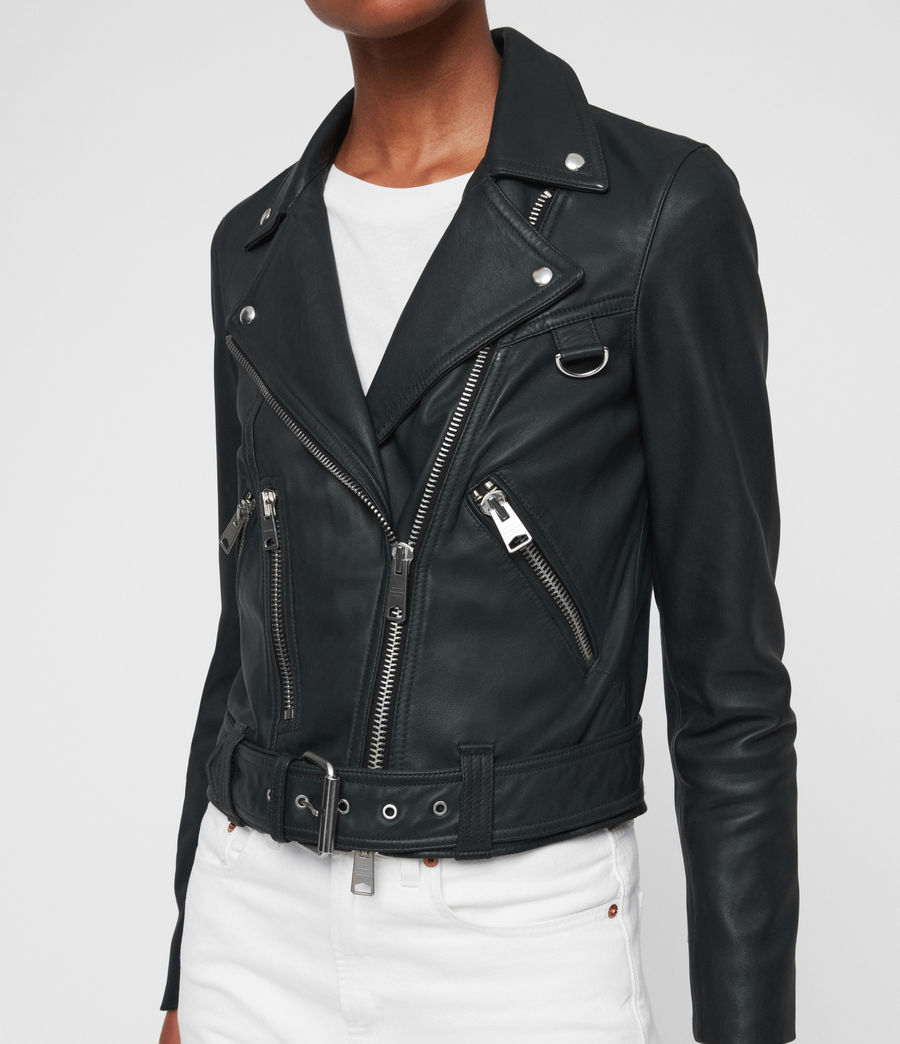 Womens Gidley Leather Biker Jacket (petrol_blue) - Image 4