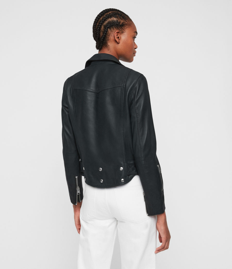 Womens Gidley Leather Biker Jacket (petrol_blue) - Image 6