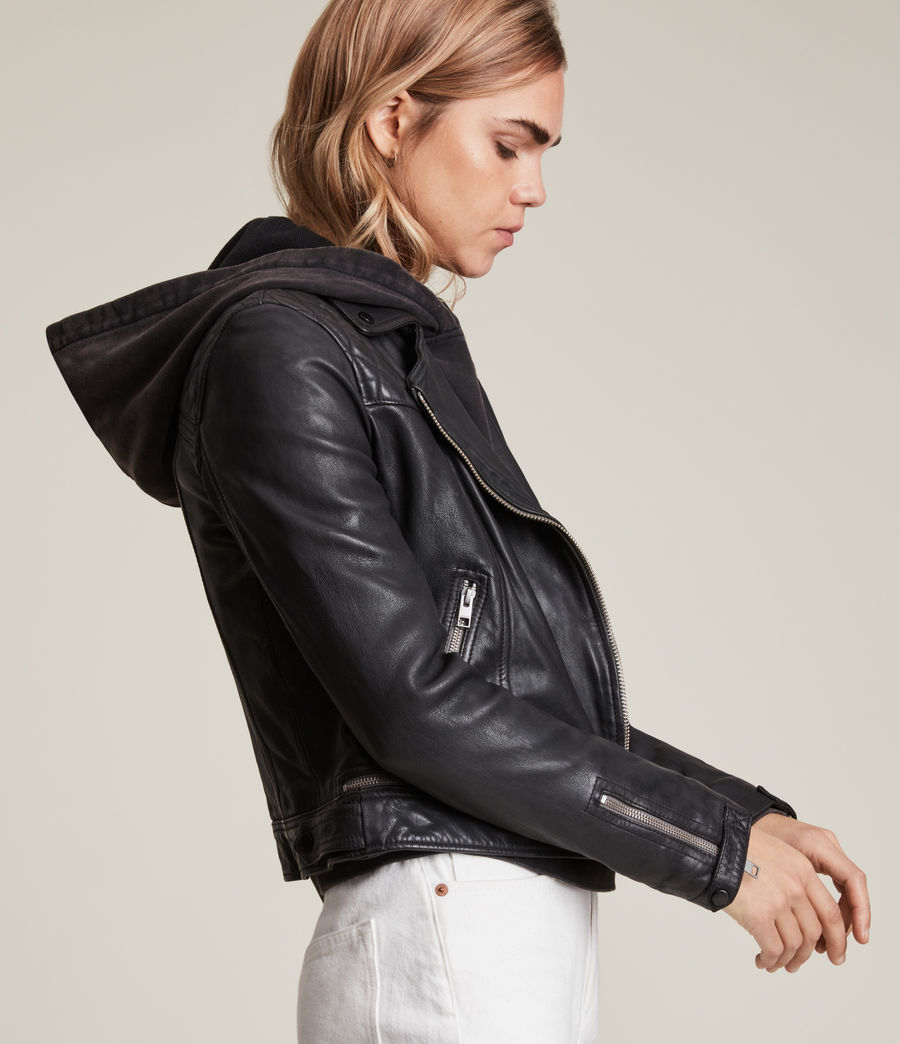 Women's Conroy Leather Biker Jacket (ink) - Image 4