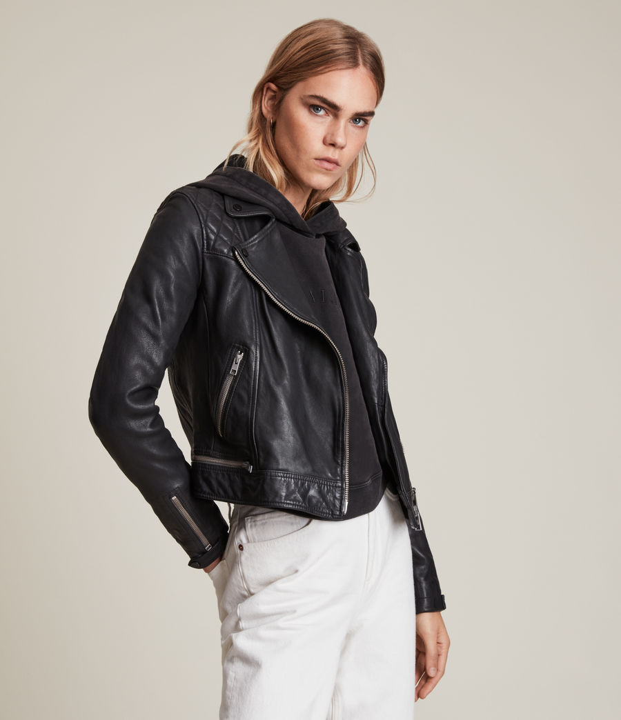 Womens Conroy Leather Biker Jacket (ink) - Image 5