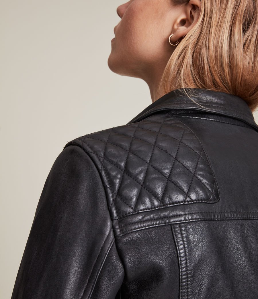 Women's Conroy Leather Biker Jacket (ink) - Image 6