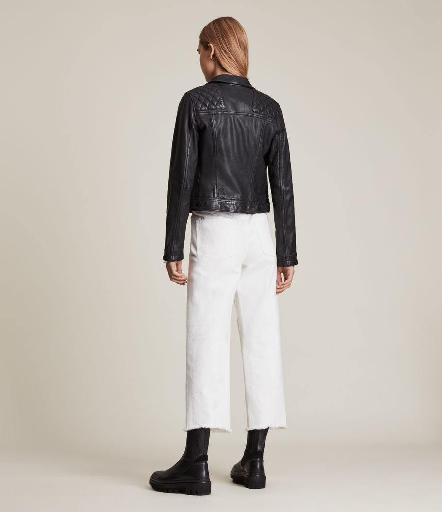 Women's Conroy Leather Biker Jacket (ink) - Image 8