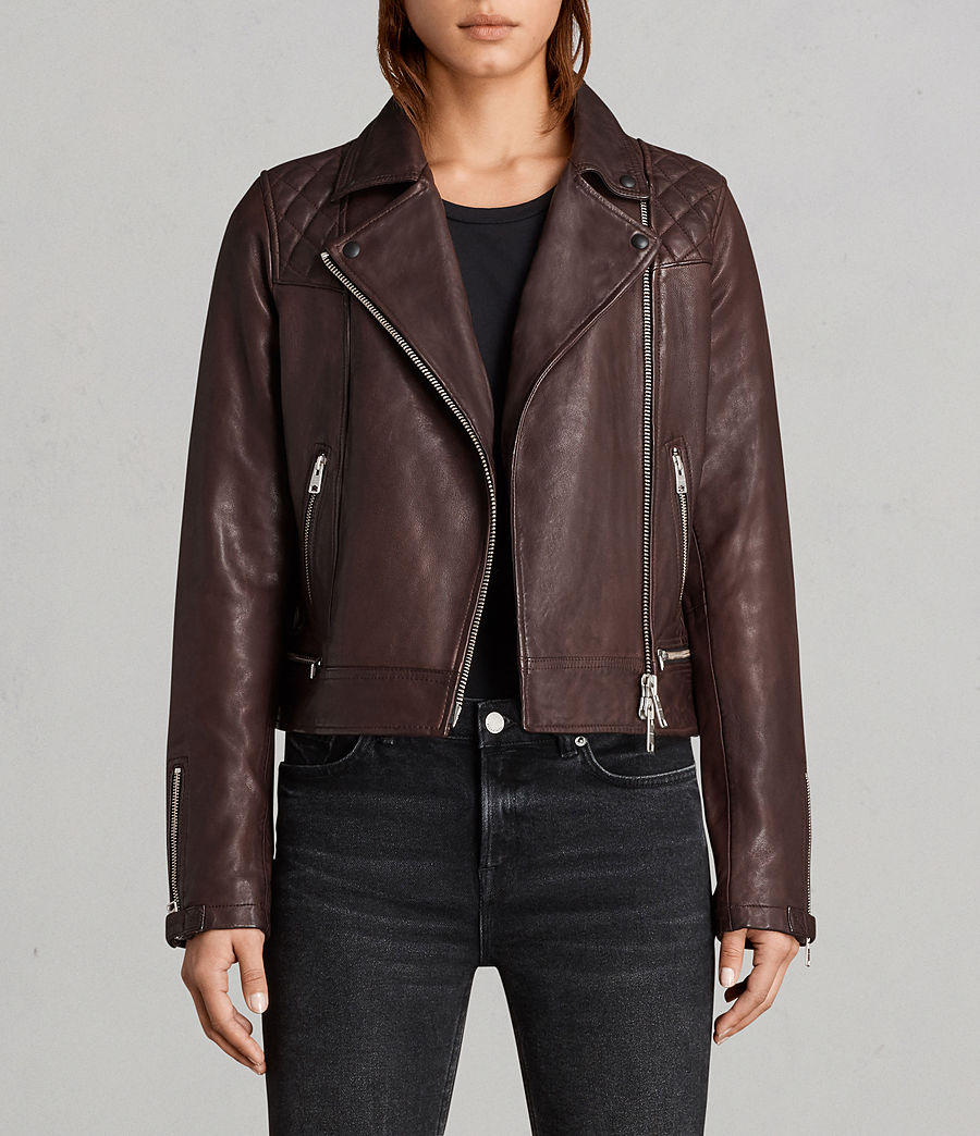 Womens Conroy Leather Biker Jacket (oxblood_red) - Image 1