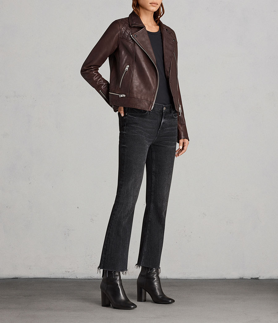 Womens Conroy Leather Biker Jacket (oxblood_red) - Image 3