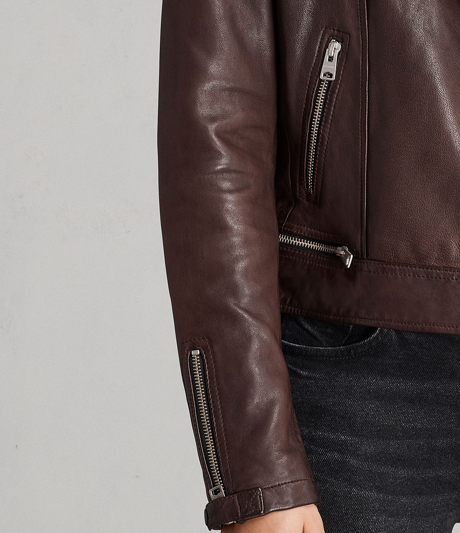 Womens Conroy Leather Biker Jacket (oxblood_red) - Image 5