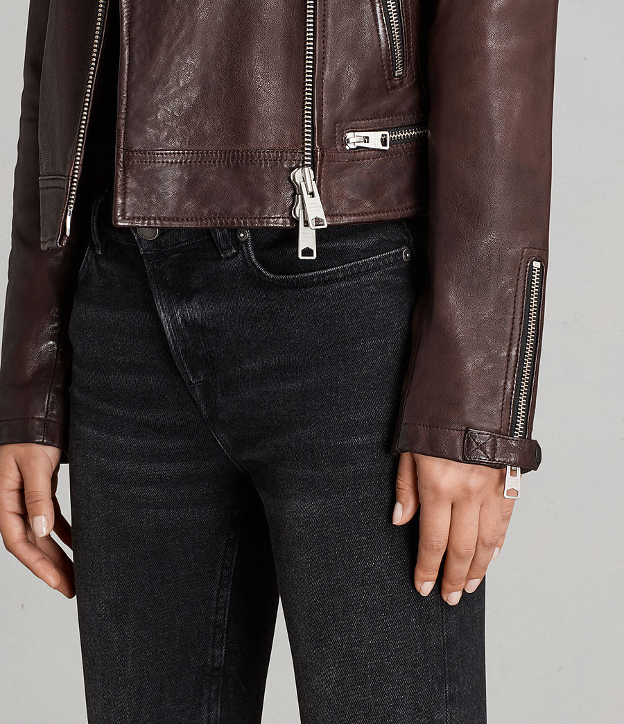 Womens Conroy Leather Biker Jacket (oxblood_red) - Image 7