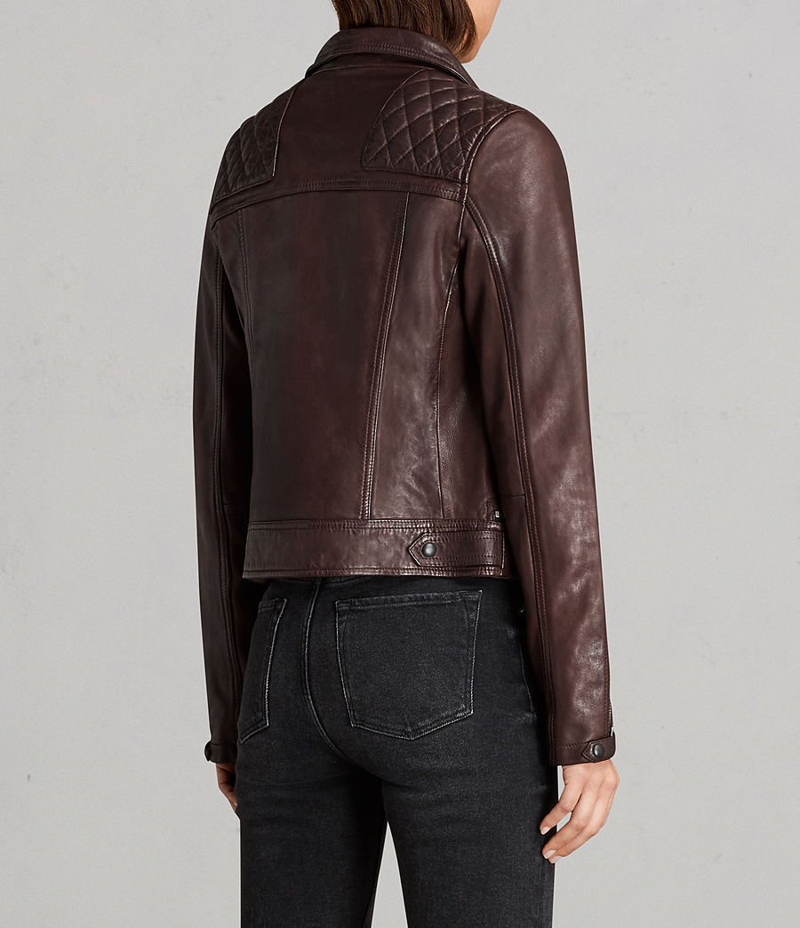 Womens Conroy Leather Biker Jacket (oxblood_red) - Image 8