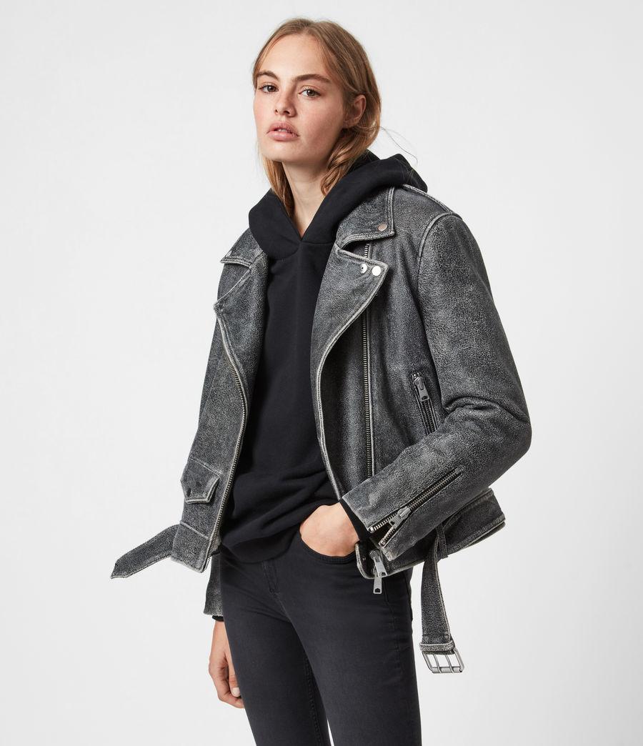 Women's Arashi Sherpa-Lined Leather Biker Jacket (black) - Image 1