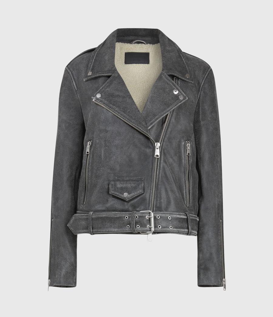Women's Arashi Sherpa-Lined Leather Biker Jacket (black) - Image 2