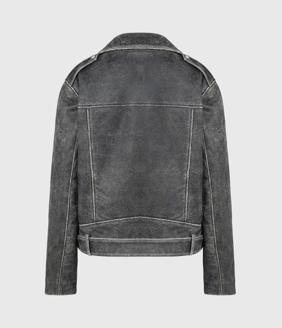 Women's Arashi Sherpa-Lined Leather Biker Jacket (black) - Image 3