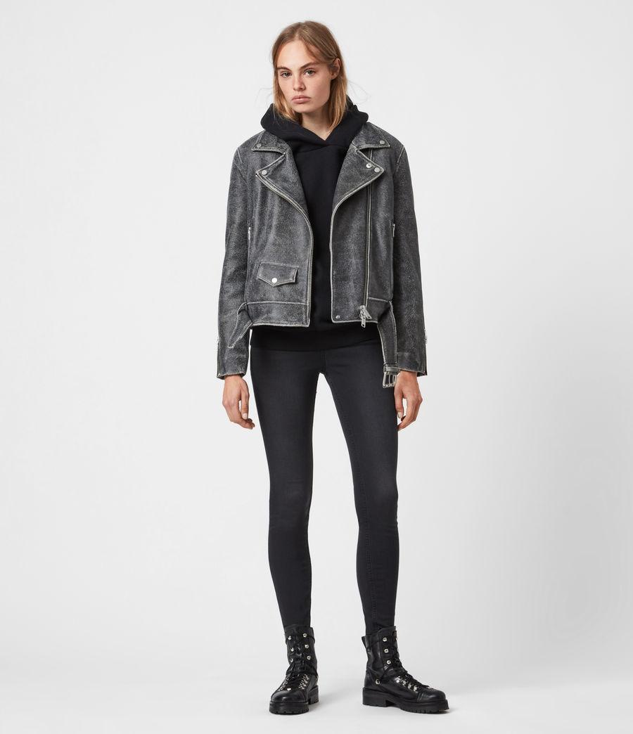 Women's Arashi Sherpa-Lined Leather Biker Jacket (black) - Image 4