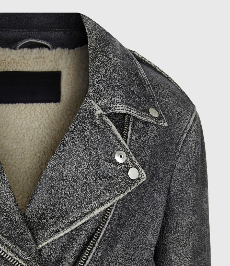 Women's Arashi Sherpa-Lined Leather Biker Jacket (black) - Image 5
