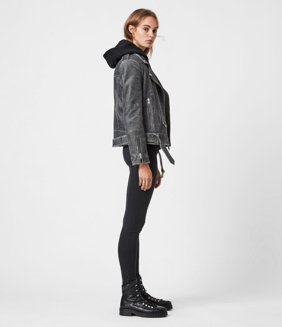Women's Arashi Sherpa-Lined Leather Biker Jacket (black) - Image 6
