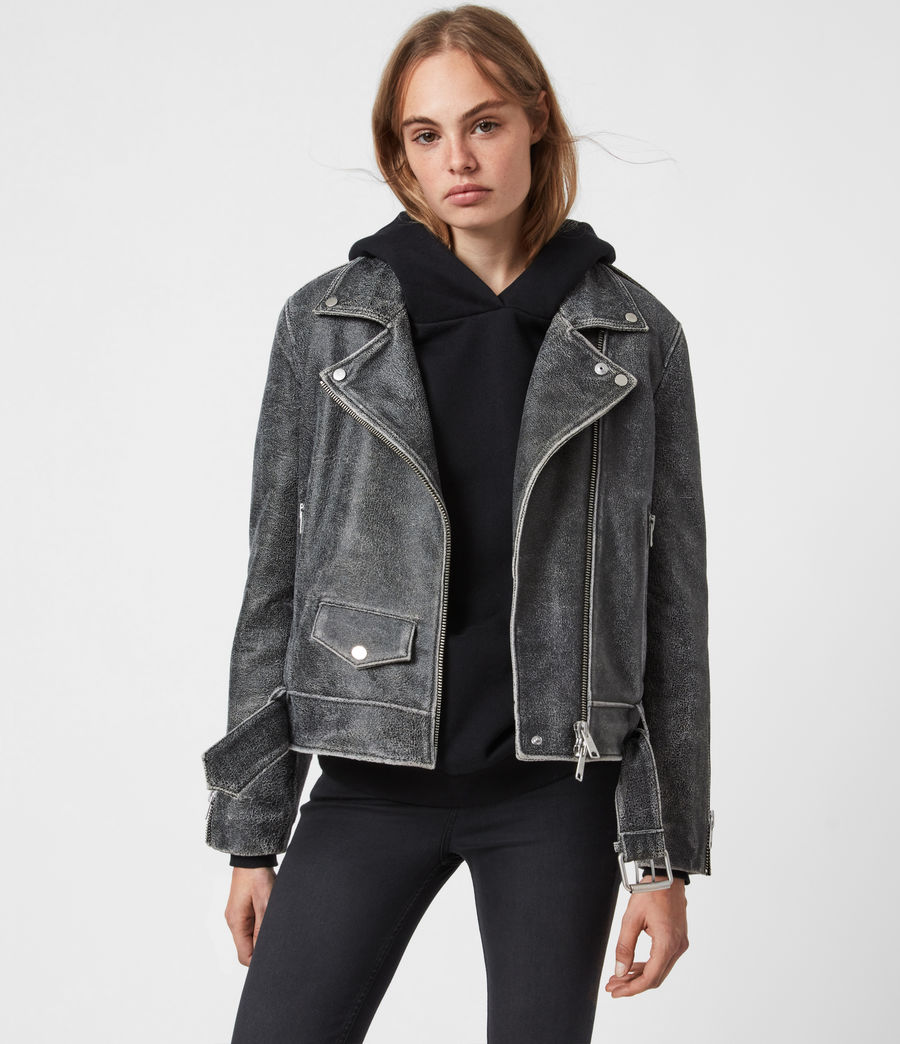 Women's Arashi Sherpa-Lined Leather Biker Jacket (black) - Image 7