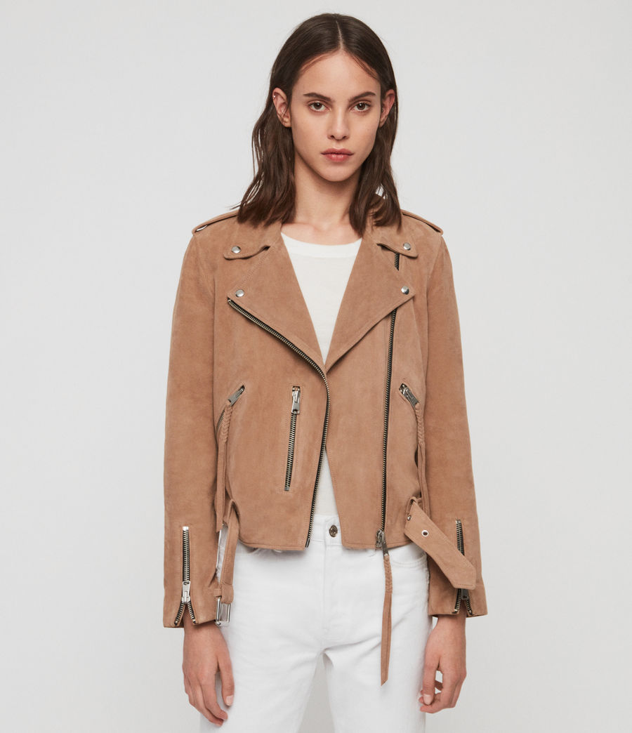 Womens Plait Balfern Suede Biker Jacket (sand_brown) - Image 1