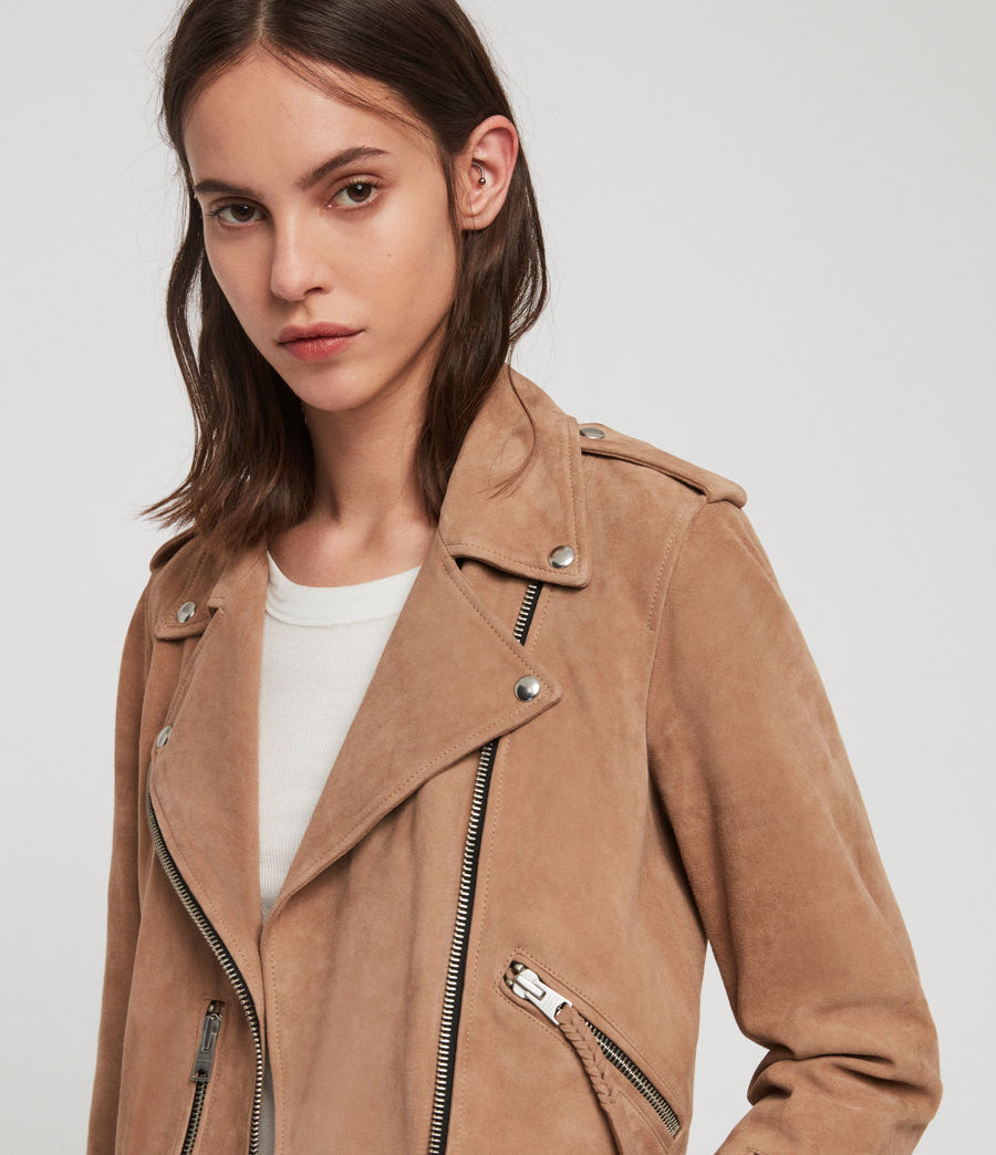Womens Plait Balfern Suede Biker Jacket (sand_brown) - Image 2