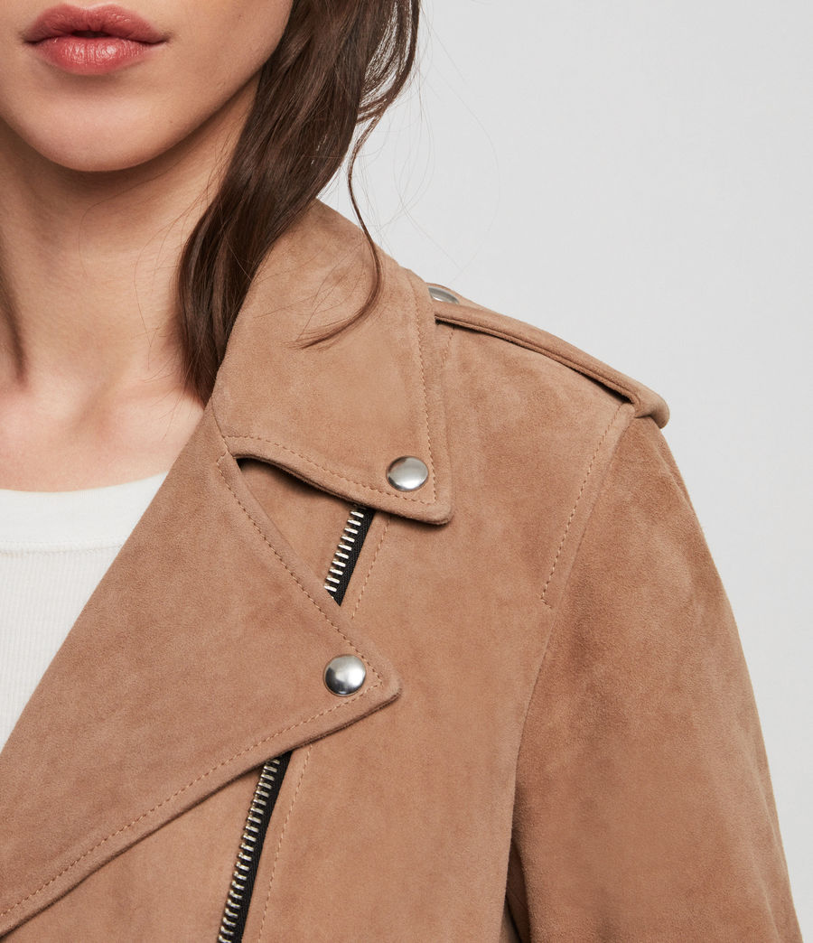 Womens Plait Balfern Suede Biker Jacket (sand_brown) - Image 3