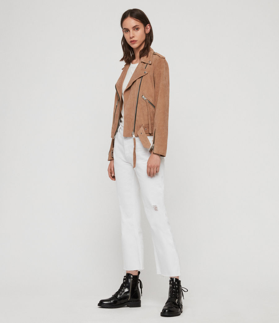 Womens Plait Balfern Suede Biker Jacket (sand_brown) - Image 4