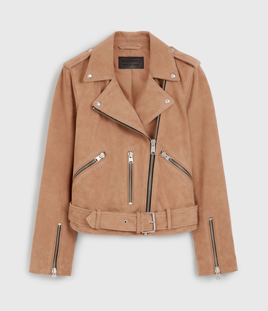 Womens Plait Balfern Suede Biker Jacket (sand_brown) - Image 6
