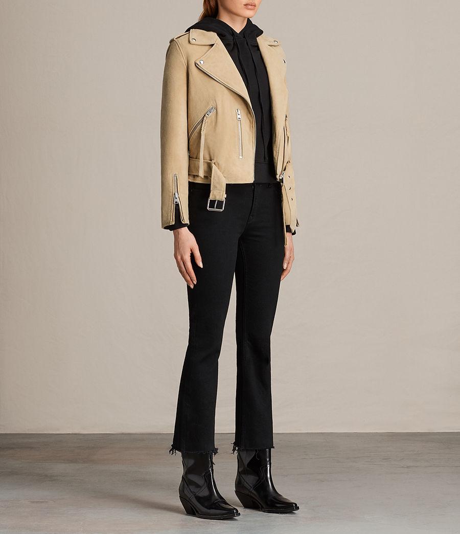 Womens Plait Balfern Suede Biker Jacket (lemon_yellow) - Image 2