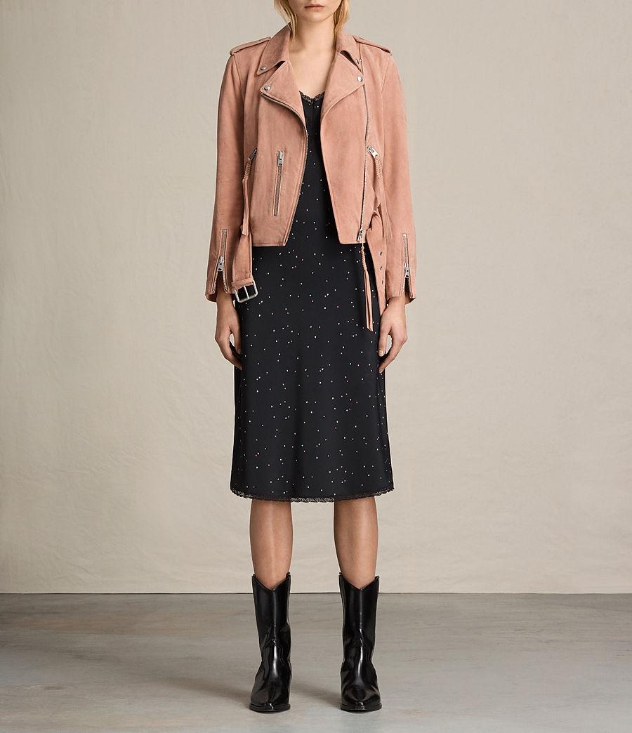 Womens Plait Balfern Suede Biker Jacket (clay_pink) - Image 4