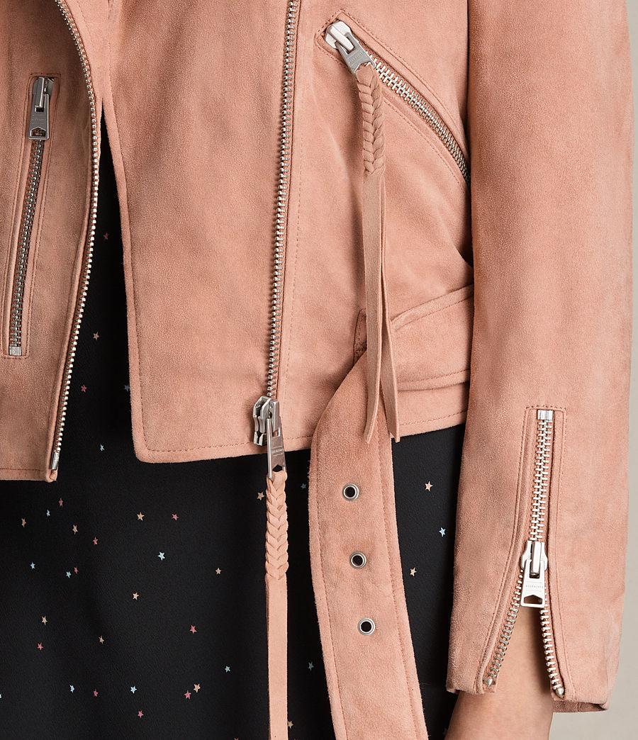 Womens Plait Balfern Suede Biker Jacket (clay_pink) - Image 5